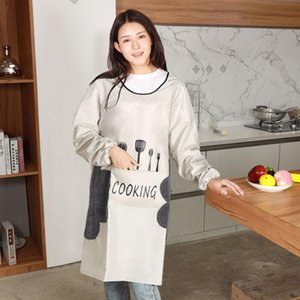 Oil Picture Cooking Apron Baking Sleeve Aprons Bib For Women Fork Kitchen Men Apron Knife Waterproof Chef Long Clean Home Tools Olsha