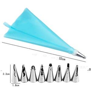 Neue Kuchen-Tools 10 Satz DIY Backengebäck-Paspel-Tipp-Set 8 Düsen-Tipps Beutel-Wandler Dekorieren von Lieferungen Kit Bakeware EWD7362