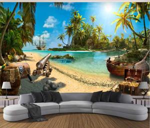 Özelleştirilmiş 3d fotoğraf duvar kağıdı duvar büyülü korsan hazine adası manzara 3d arka plan duvar