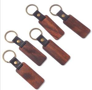 Personalisierte Leder Keychain Anhänger Buche Holz Carving Schlüsselanhänger Gepäckdekoration Schlüsselanhänger DIY Urlaubsgeschenk