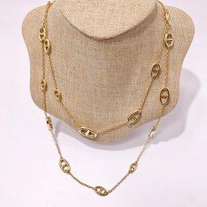 H Kolye Tasarımcı Takı Altın Kaplama Bakır Ürünler Moda Domuz Burun Kolye Gümüş Renk Uzun Kazak Zincir Aksesuarları