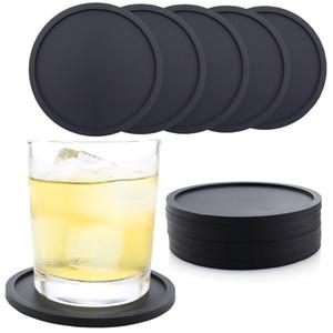6 Couleurs Silicone Coasters de coupe antidérapante Couches résistantes à la chaleur Coupe de la chaleur, Coaster souple pour la protection de la table Convient aux lunettes de boisson taille