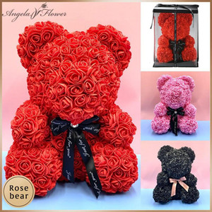 Valentine's Day Gift Foam Rose Bear With Box PE Teddy Rose Artificial Flower Gift for Girl friends Mother Wife Home Decor 40 CM