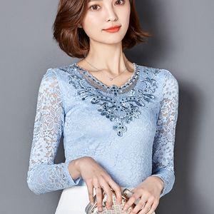 Deux foisfanx Nouveau Chemiseau d'automne Chemis à manches longues Diamonds Dentelle élégante Mode Blusa Plus Taille Femmes Tops 918B