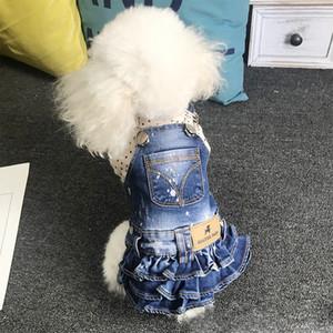 Beautiful Cute Pet Denim Skirt Indoor Party Puppy Strap Dress Bichon Teddy Schnauzer Pets Dogs Clothes