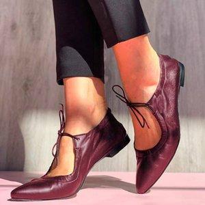 2020 herbst frau schuhe frauen mode leder niedrige quadratische heels spitze spitze einzelne schuhe weibliche lässig lässig schwarz schwarze flacher schuh
