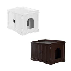 US us stock brown / white Pet Hidden Litter Box деревянная мебель Cat House House Chainse Укрытие Nights Close Table