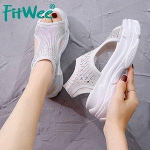 Fitwee Женщины Сандалии Толстая Нижняя Мода Женщина Летняя Обувь Bling Elastic Открытый Обычная Женская Обувь Обувь Размер 34 39 Клина Обувь W V5DV #