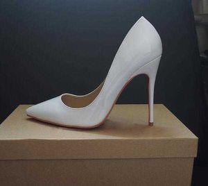 Женская обувь красные днище высокие каблуки сексуальные заостренные носки красная подошва 8 см 10см 12 см насосы поставляются с пылевыми мешками свадебные туфли