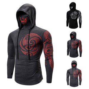 Autumn And Winter 2021 New Men's Elastic Body Casual Fashion Hooded Long Sleeve T-shirt Tattoo Printed Masquerade