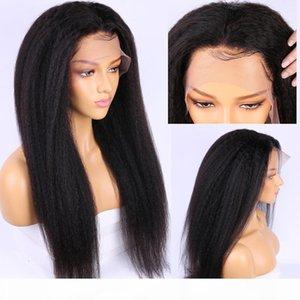 Full Lace Wig Yaki Hair Kinky Straight Pre Plucked Glueless Italian Yaki Lace Frontal Wigs Brazilian Remy Hair