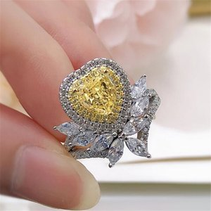 2021 Top Sell Wedding Rings Luxury Jewelry High Quality Pure 100% 925 Sterling Silver Moissanite Yellow Topaz CZ Diamond Promise Handmade Women Ring Never Fade