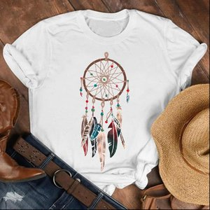 Women Lady Feather Dream Web Vintage 90s Printing Fashion Shirt Clothes Womens Top Female Print T Tee Graphic T shirt