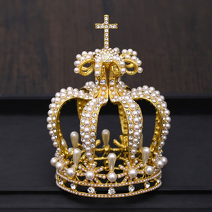 Bridal Crown Headdress Baroque Crystal Pearl Crown Gold Round Crown Queen Tiara Jewelry Party Wedding Hair Accessories10
