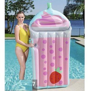 190cm Giant Drink Cup Inflatable Pool Float 2021 Newest Lie-on Lounger Floating Raft for Children Adult Swimming Ring Party Toys