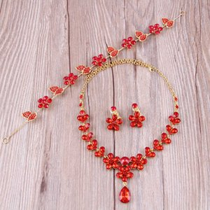 Bridal Head Red Necklace Crown Earrings Three Piece Wedding Accessories