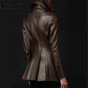 Nerazzurri Британский Стиль Кожаный Требовый Пальто для Женщин Длинный Рукав Отворотный Женский Мода Slim Fit Soft Faux Кожа Blazer 201020