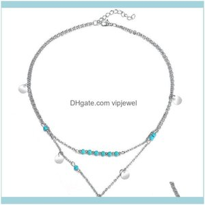 Pendant & Pendants Jewelrysummer Style Statement For Women Beads Coin Turquoise Boho Body Multi-Layer Necklaces Vintage Sier Gold Chain Drop