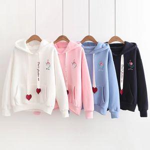 Autumn and winter sweater women's Embroidery crane love ribbon T-shirt long sleeve loose women's wear