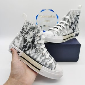 Top Calidad Classic Canvas Hombre Zapatos Casuales Mujer Sneaker Moda Zapatillas de deporte Cuero Lace Up Blanco y negro con caja