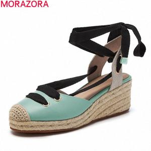 MORAZORA 2020 новый летний высокие каблуки обувь летняя мода зашнуровать вечеринку туфли простые клинья платформы женские сандалии дамы сандалии девушки L2JP #
