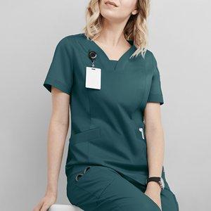 HE001 Plug Size uniform Women workwear Beauty Salon Clothes Nursing Scrub Shirt Unisex Nurse Uniform Slim fit female nurse uniform