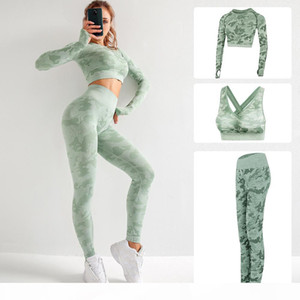 High Quality Brand Designer Womens Cotton Yoga Suit Long Sleeve Sportwear Tracksuits Fitness Gymshark Sport three Piece set 3pcs outfits bra