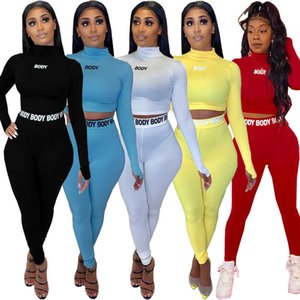 Women Tracksuits Two Pieces Set Plastic Tight Letter Printing Sexy High Waist Long Sleeve Tops Pants Solid Colour 4 Colors Ladies Outfits