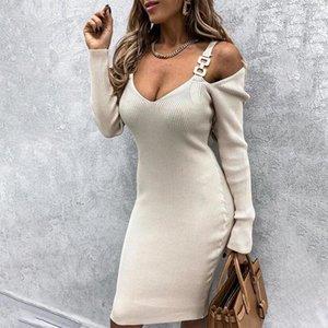 Off Shoulder Ribbed V-Neck Women's Midi Dress Metal Button Long Sleeve Women Sling Dresses 2021 New Solid Slim Female Vestidos 210222