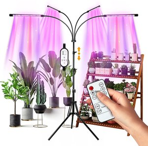 LED Grow Lights 4 Heads Indoor Plants Full Spectrum Light Tripod Adjustable Stand Floor 4 8 12H Timer with Remote Control