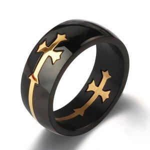 خواتم الفولاذ المقاوم للصدأ 8 ملليمتر الرجعية المجوهرات غير السائدة انفصال الصليب الخاتم التيتانيوم الصلب الرجال الدائري