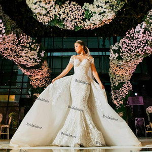 Romantic Arabic Mermaid Wedding Dresses With Detachable Train Elegant Short Sleeve 3D Floral Lace Country Dubai Bridal Gown Robe de marriage