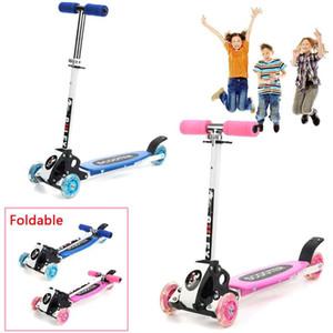 3 바퀴 LED 어린이 스쿠터 접이식 알루미늄 합금 PU 휠 안티 스키 이드 킥 스쿠터 행복한 아기 선물 쿨러