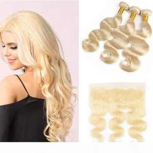 Brazilian Virgin Hair #613 Blonde 3 Bundles with Frontal Closure Top Lace Frontal and Bundles Body Wave Hair Weave and Frontal