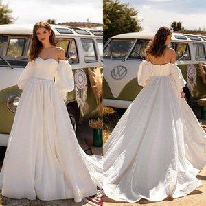 Boho Wedding Dresses with Detachable Long Sleeves Sweetheart Satin A Line Bridal Dress Beach Wedding Gowns