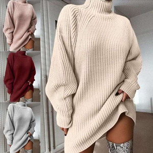 2021Turtleneck Long Sleeve Sweater Dress Women Autumn Winter Loose Tunic Knitted Pullover Female Casual Solid Mini Dresses