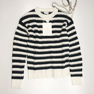 2021 Milan Stil Frühling Sommer Marke Gleiche Stil Pullover Weiß Gestreifter Pullover Print Normal Langarm Frauen Kleidung Xue