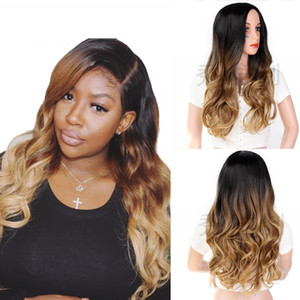 Natural Hairline Body Wavy Lace Front Wigs Synthetic Wigs For Black Women Ombre Black Root Brown Wig