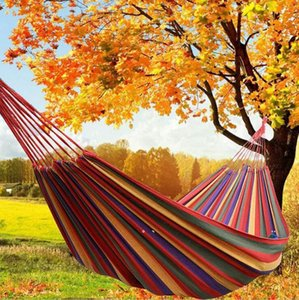 NEWColorful hammock 2 sizes hamac outdoor leisure bed hanging beds double sleeping canvas swing hammocks for camping hunting EWF7880