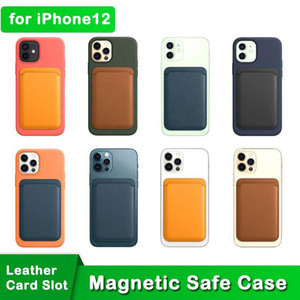 Leather Mag Magnetic Safe Phone Case for iPhone 12 Card Slot Credit Card Holder Wallet Back Case for 12 Mini 12 Pro Pro Max Support