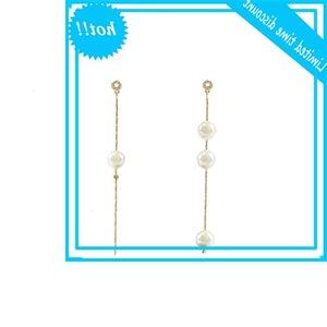 style asymmetric pearl long Tassel Korean S925 silver needle Earrings accessories