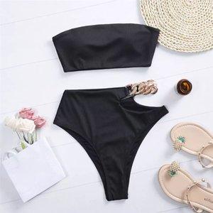 EE.UU. Fast Conservador Split Bikini Top Skads Traje de baño Alto cintura para mujer Sexy White 2021