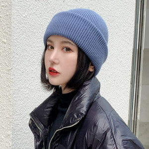 Winter Hats For Women Wool Knitted Angora Hat Beanies Female Warm Fur Skullies Beanie For Girl thick and warm Woman hat