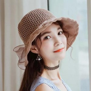 Cloches Studyset Fisherman Hat Female Sunhat Sweet Style Bowknot Decoration Foldable Straw For Travel Beach