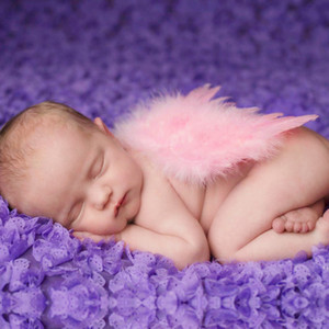 Baby Infants Wing Photography Props newborn Pretty Angel Fairy White Pink feather Costume Photo headband Prop BAW11