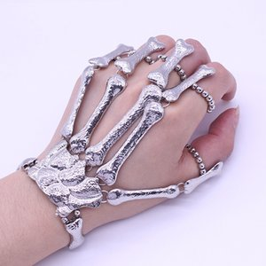 Halloween Bracelet Punk Exaggerated Ghost Hand Skull Metal Texture Double Finger for Female