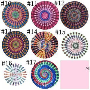 Boho Beach Towel Chiffon Tapestry Blanket Round Blankets 150*150cm Women Shawl Yoga Mat Picnic Rugs 17 Designs Optional DWD7243