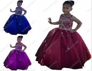Sexy Burgundy Little Girls Pageant Dresses 2021 Ball Gown Sheer Neck Crystal Beaded Organza Cheap Flower Girl First Communion Dress