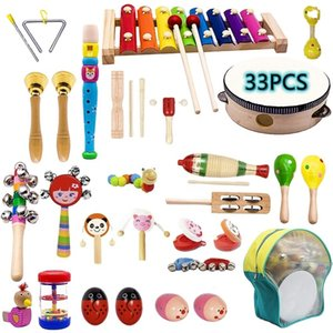 Kids Musical Instruments, 33 PCS 20 Typ Wooden Instruments Tambourine Xylophone Toys for Children, Prchool Educational
