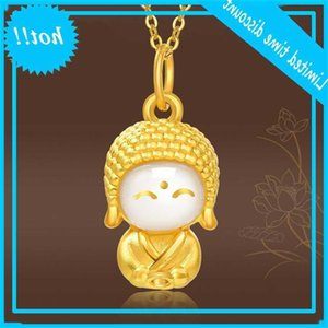 Smiling face gold inlaid jade pendant life protecting Maitreya Xiaomeng Buddha titanium steel necklace female accessories